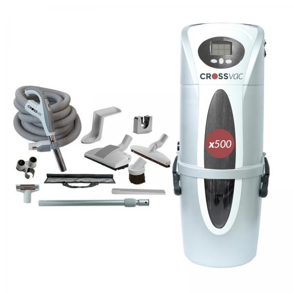 Zentralstaubsauger x500 + Schlauch-Set mit elektronischer Saugkraftregelung
